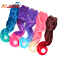 Alileader No Clips in Hair Extensions Fish Line Hairpieces Ombre Color Pink Blue Red Natural Synthetic Hair 24'' Invisible Wire