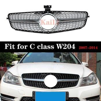 Racing Grill For C Class W204 Diamond Sliver Black Grille C180 C200 C300 C250 C350 2007-2014