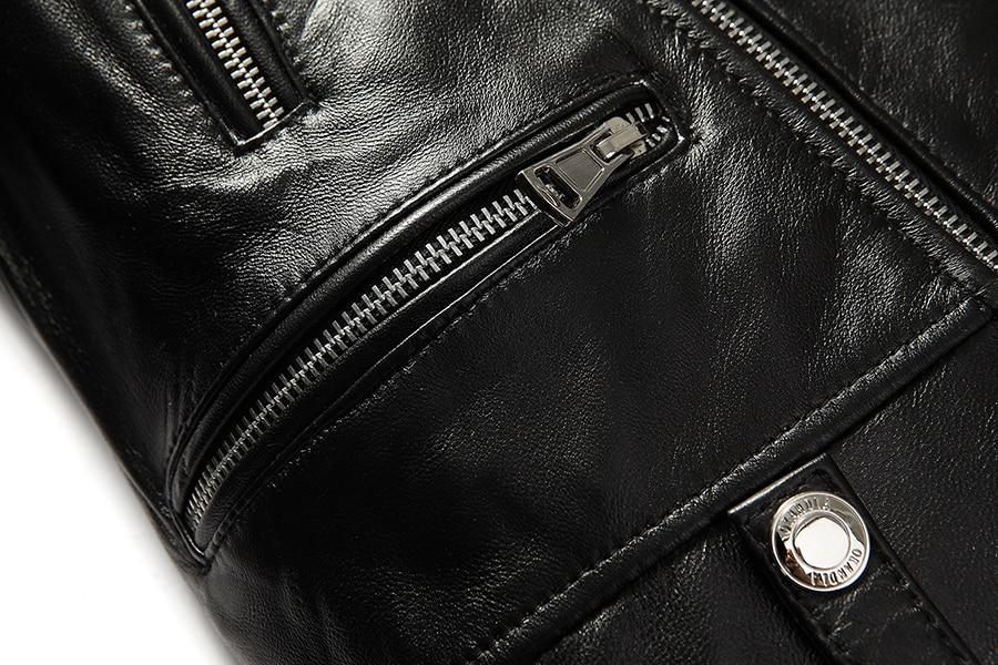 HTB101oBaiHrK1Rjy0Flq6AsaFXa7 Free shipping.brand new black mens sheepskin jacket.classic biker soft genuine leather coat.fashion plus size style slim jackets