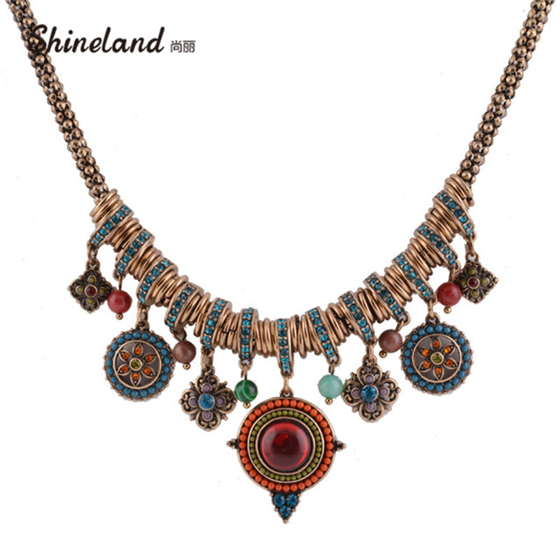 Vintage Bohemia Style Fashion Jewelry Gold-color Round Shape Colorful Resin Stone&Beads Pendants Statement Necklace for Women exaggerated vintage style golden spiral pendants alloy necklace for women