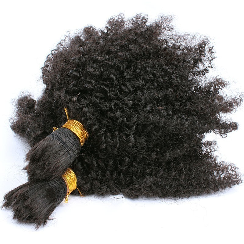 Human Braiding Hair Bulk No Weft Mongolian Afro Kinky Curly Bulk Hair For Braiding Remy Hair