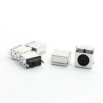 5pcs PS/2 6P Mini DIN Plug Female PCB Mouse Keyboard Connector Black 2 5 6
