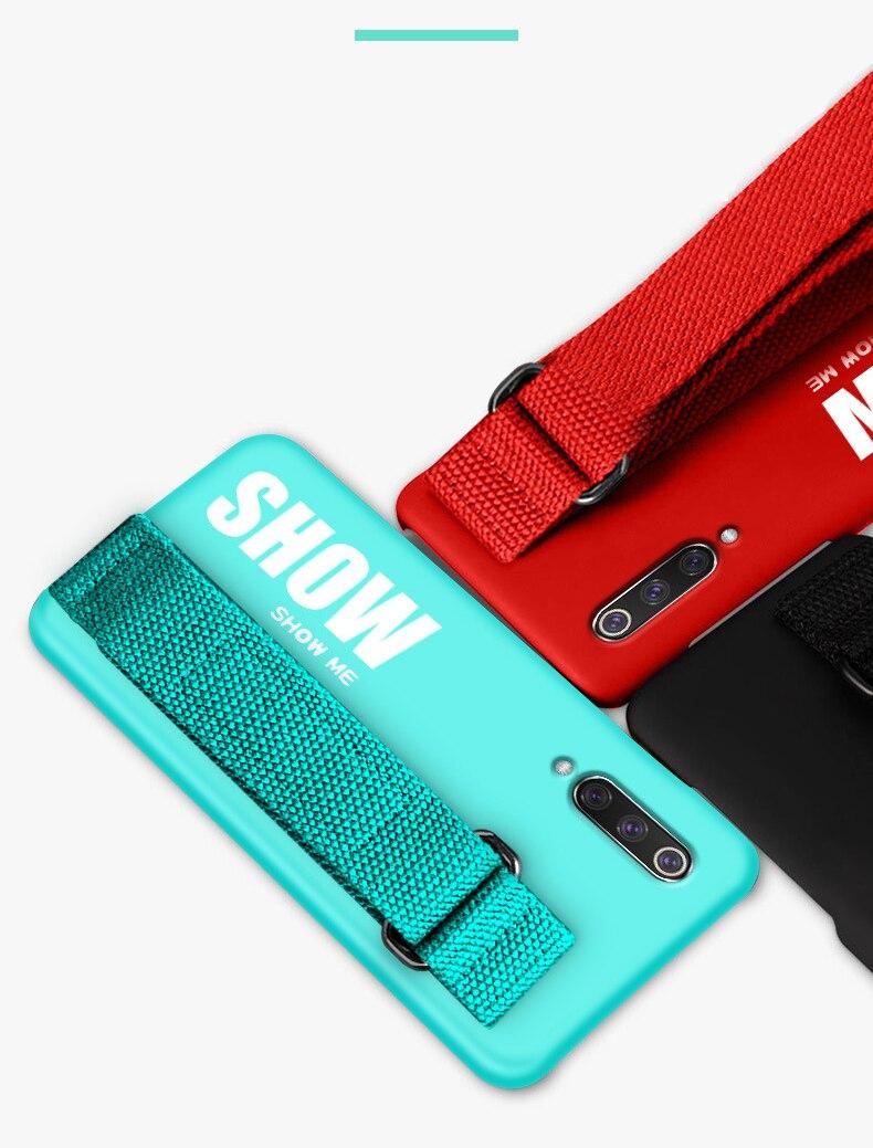 HTB101oJLwHqK1RjSZFEq6AGMXXaA For Xiaomi Mi 9T 9 SE 8 Lite Pro 6 6X A2 A1 Note 10 Max 2 3 Mix 2S CC9 CC9E Redmi K20 Case Silicon Matte Cover Hand Strap Funda
