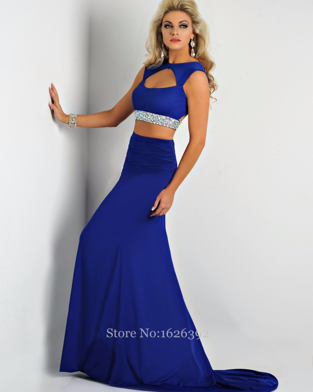 Aliexpress.com : Buy Sey Two Pieces Mermaid Prom Dress Royal Blue ...