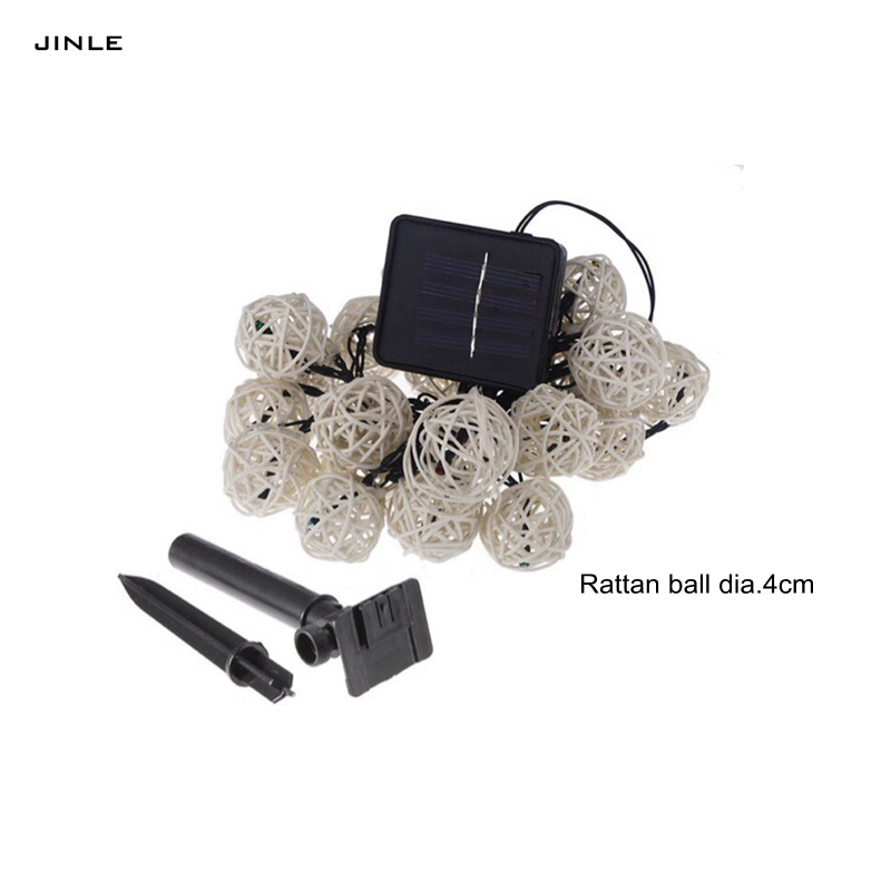 2017 Hot Sale 5m 20l Dia.4cm Lamp Led Solar Rattan Ball String Light Colourful Holiday C ...