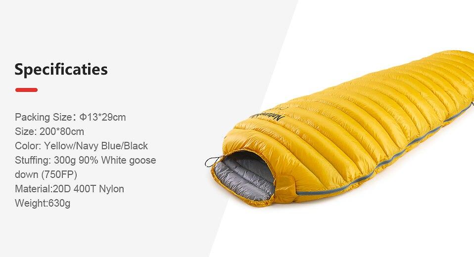 Naturehike White Goose Down Mummy Sleeping Bag