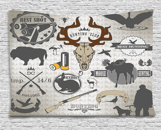 Hunting Decor Tapestry Wildlife Theme Vintage Graphic Labels Weapons Ammunition Moose Elk Rabbit, Wall Hanging for Bedroom