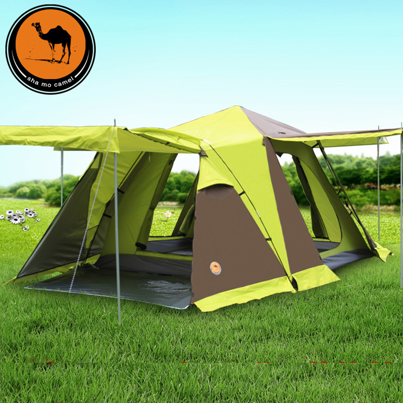 Large camping tent 3-4 person automatic tourist Tent Four-door Double Layer waterproof Snow skirt Tents for outdoor recreation waterproof tourist tents 2 person outdoor camping equipment double layer dome aluminum pole camping tent with snow skirt