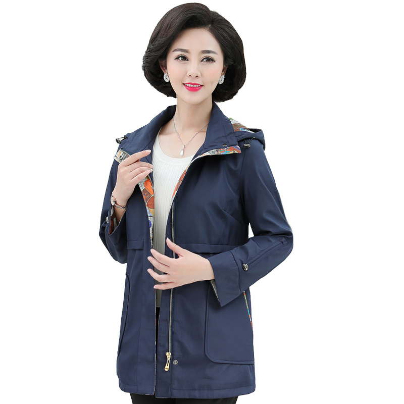 British Style Woman Casual   Trench   Coat Purple Navy Blue Duster Coats Women Hooded Overcoat Autumb Spring   Trenches   Outerwear Lady