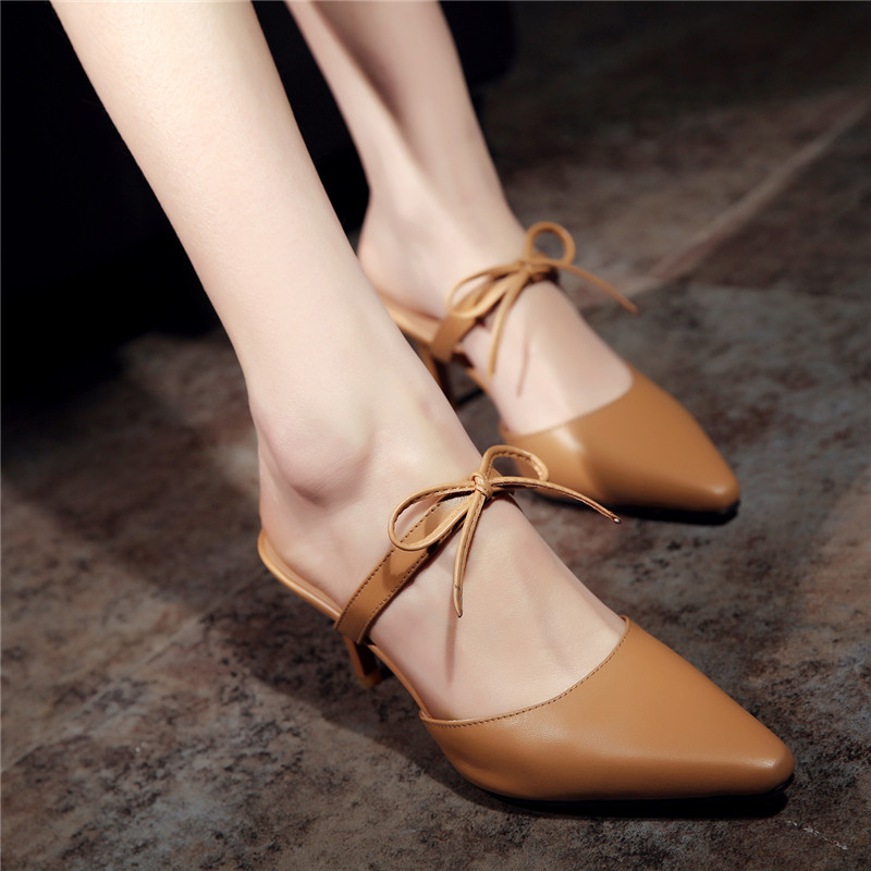 YMECHIC 2018 Womens Summer Butterfly knot Mary Janes Shoes Pointed Toe High Heels Mules Genuine Leather