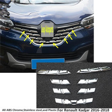 Free shipping Renault Kadjar 2016 body cover protection detector ABS chrome trim Front up Grid Grill Grille Around 7pcs