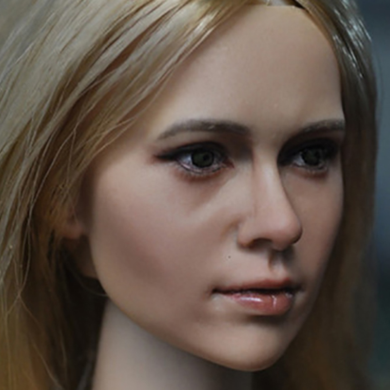 1//6 Female Carving Head Sculpture w// Blond Hair for 12inch  Kumik Enterbay Parts