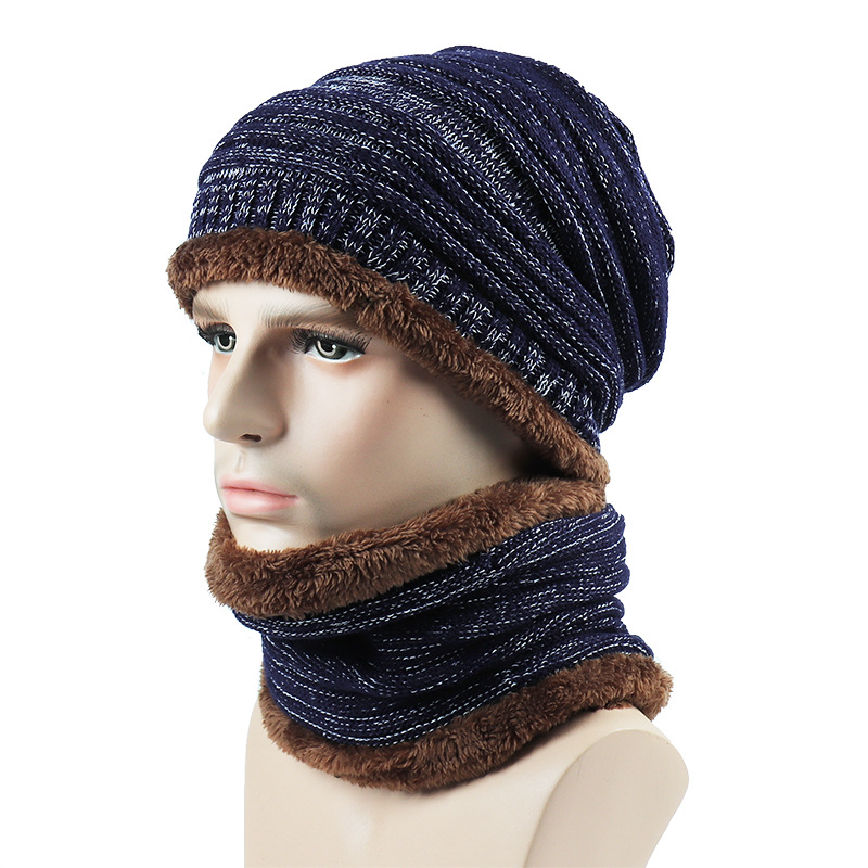 Scarf-Set Beanies Plush-Hats Knitted Winter Women for Casual Outdoor Warm Thick