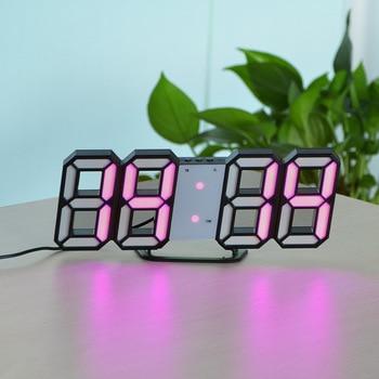 3D USB LED Digital Wall Clock Electronic Desk Table Desktop Alarm Clock 12/24 Hours Display Home Decoration Wake up night lights 7