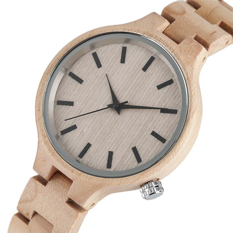 Full Wooden Watch Simple Creative Women Quartz Bracelet Dress Wrist Watch Nature Wood Bamboo Handmade Gift