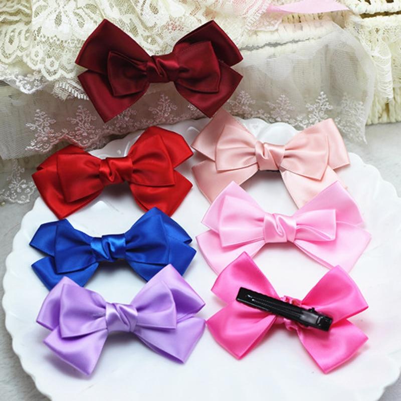 Hot Sale Bowknot Hairpins Fashion Women Girls Children Cute Satin Ribbon Hair Clips