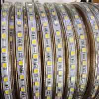 Светодиодные ленты света AC 220 В SMD 5050 Гибкие светодиодные Клейкие ленты 60leds/м лента для Гостиная 60 м 70 м 80 м 90 м 100 м