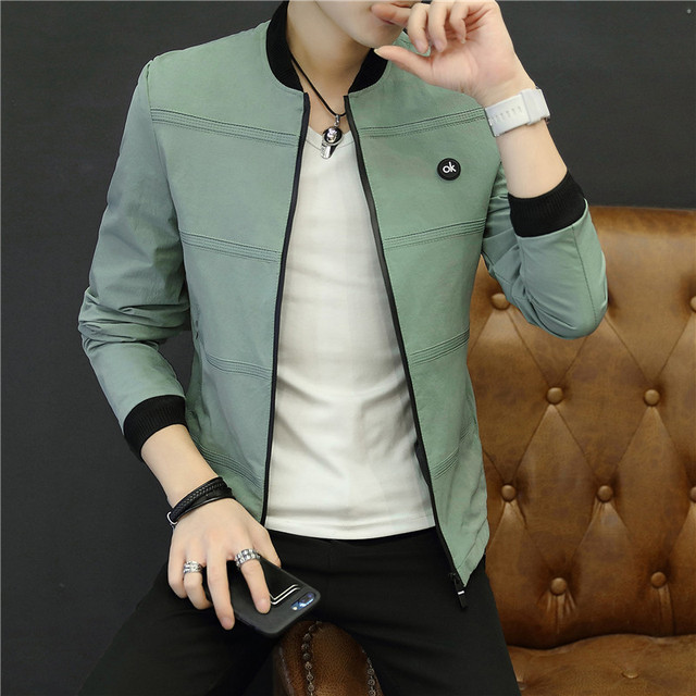 2019 Spring and Autumn Casual Solid Color Slim Fashion Baseball Jacket Men's Jacket Brand Clothing jaqueta masculino M-4XL