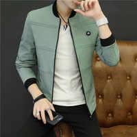 2019 primavera y otoño Casual Color sólido Slim moda chaqueta de béisbol chaqueta de hombre marca ropa jaqueta masculino M-4XL
