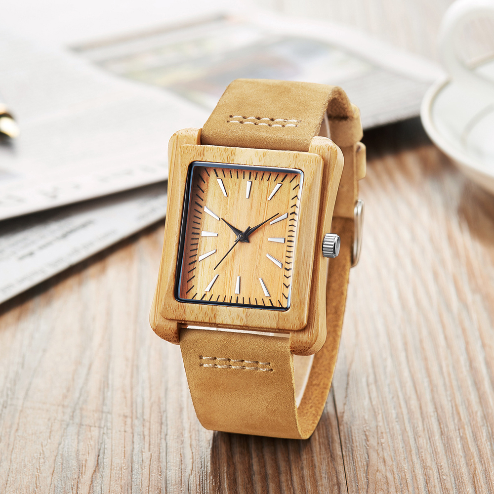 Fashion Wooden Bamboo Mens Watches Square Style Simple Male Wristwatch Casual Brand Genuine Leather Quartz Watch Horloge Reliogo simple minimalism casual men quartz wristwatch number dial genuine leather band cost effective natural wooden design male watch