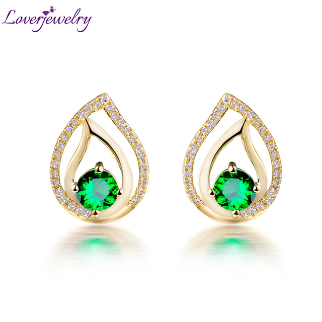 LOVERJEWELRY Lady Stud Earrings Real 18K Yellow Gold Natural Round Tsavorite Classic Earrings For Women Party Office Jewelry