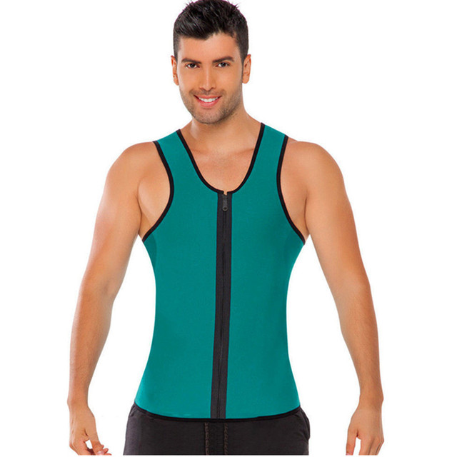 a9e27067162 MOK MORS M Mens Sweat Neoprene Body Shapers Zipper Vest Tops Slimming  Fitness Weight Loss Shapewears Plus Size S-3XL