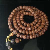 BRO576 Tibetan 108 Beads Old Oiled Rudraksh Bodhi Prayer Beads Mala 10mm Man Amulet Buddhist Bracelet