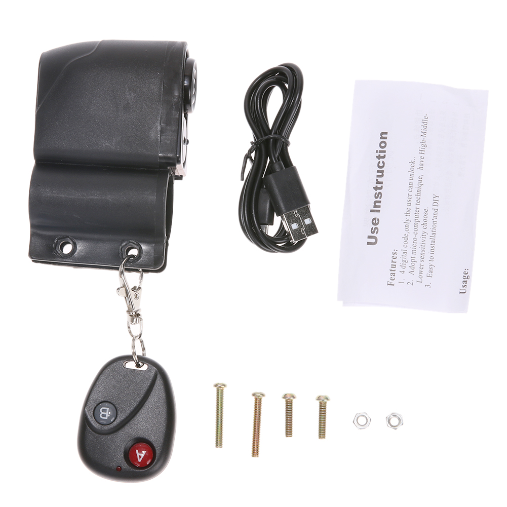 110db MTB Bicycle Warning Lock Alarm Intelligent USB Charging Anti-theft Remote Control...