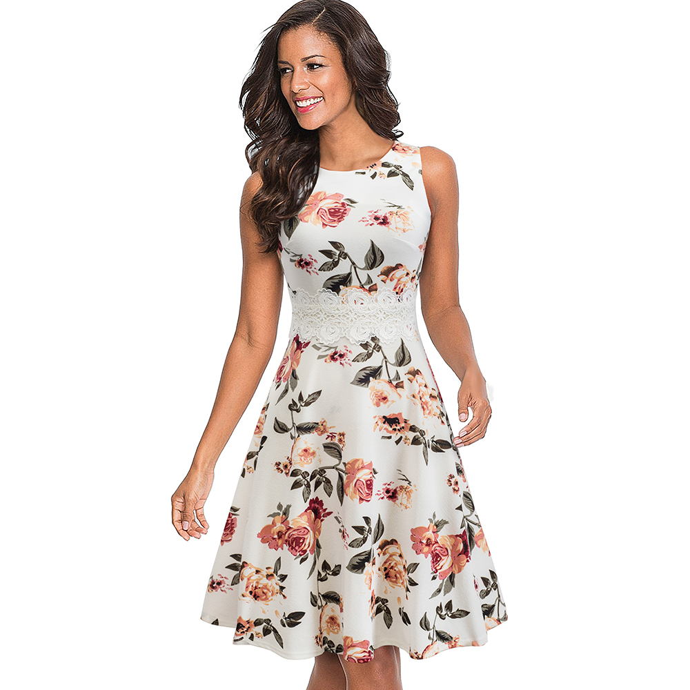 Nice-forever Vintage Elegant Embroidery Floral Lace Patchwork vestidos A-Line Pinup Business Women Party Flare Swing Dress A079 68