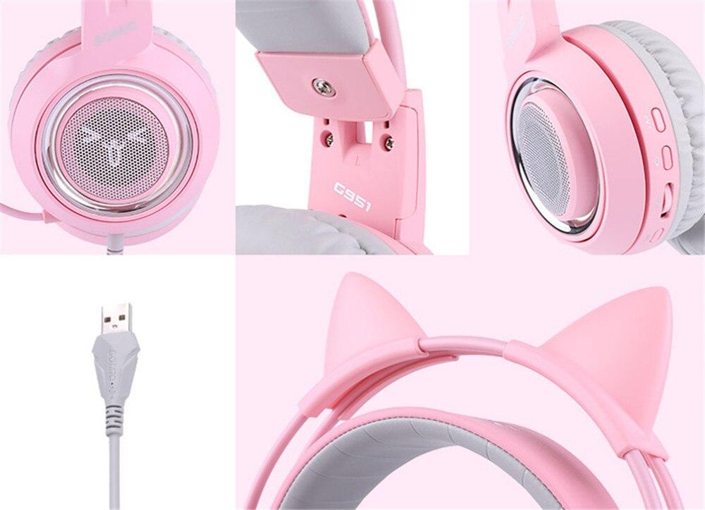 ouvido casque rosa meninas gato orelha usb