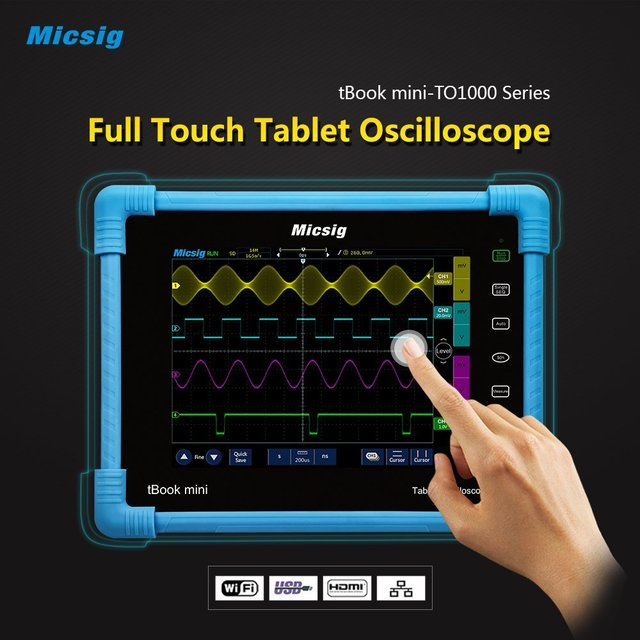 Flash Promo LOWEST PRICE for  Micsig Digital Tablet touchscreen TO1104 diagnostic Oscilloscope 100MHz 4 ch  28Mts  1GSa TO1104