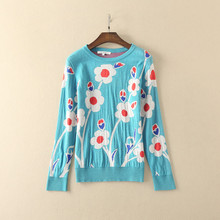 Europe 2017 Spring flower knitwear fashion woman's sky blue O-neck sweaters Girl chic Pull-over knitting shirt S-L size