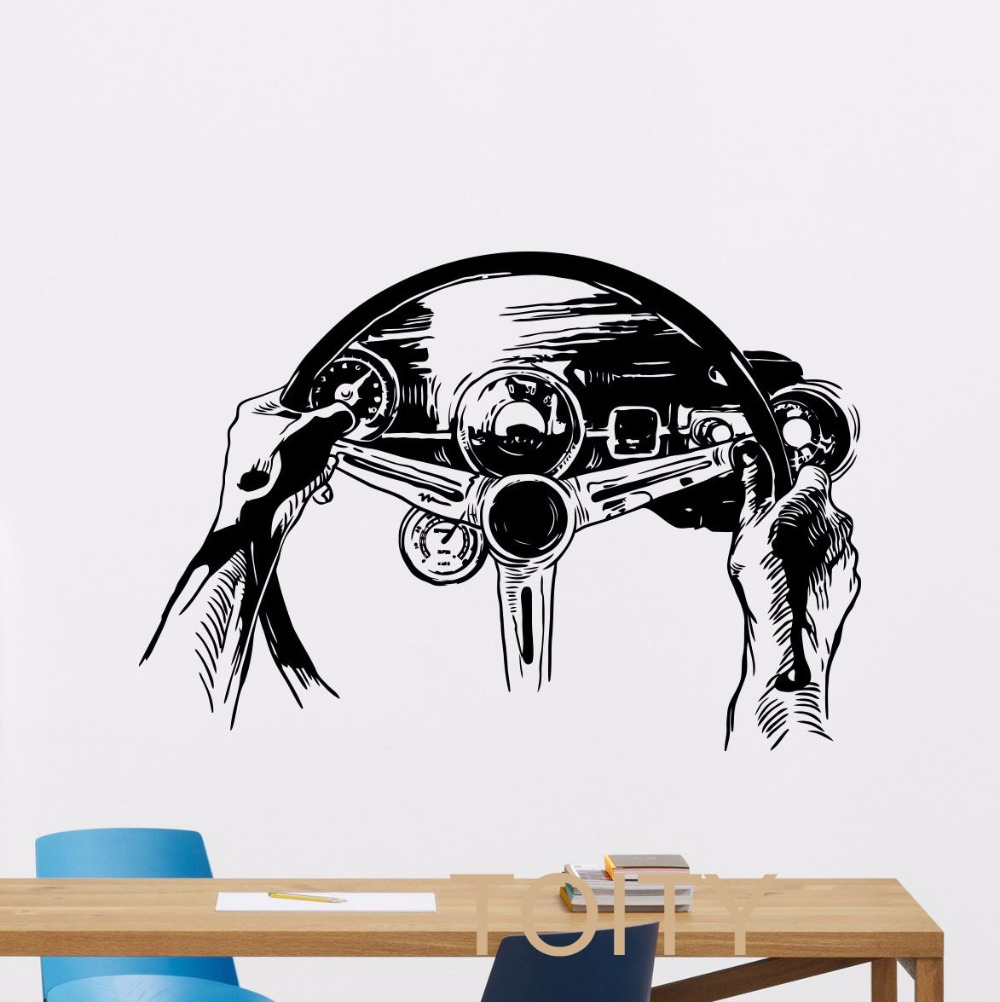 Car club sticker designs - Steering Wheel Wall Decal Rally Racing Car Vinyl Sticker Club Dorm Home Living Room Interior Art Decor Mural