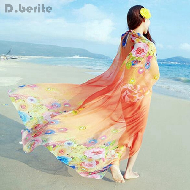 fc476188a9 Women Chiffon Beach Bikini 150x200cm Cover Up Charms Shawl Wrap Scarf Pareo  Swimwear Sarong Dress Colored Scarves YYY9315