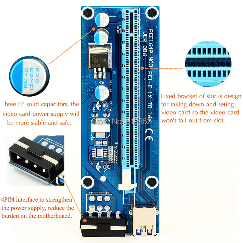 006 PC PCIe PCI-E PCI Express Riser Card 1x to 16x USB 3.0 Data Cable SATA to 4Pin IDE Molex Power Supply for BTC Miner Machine насос taifu sgp 550