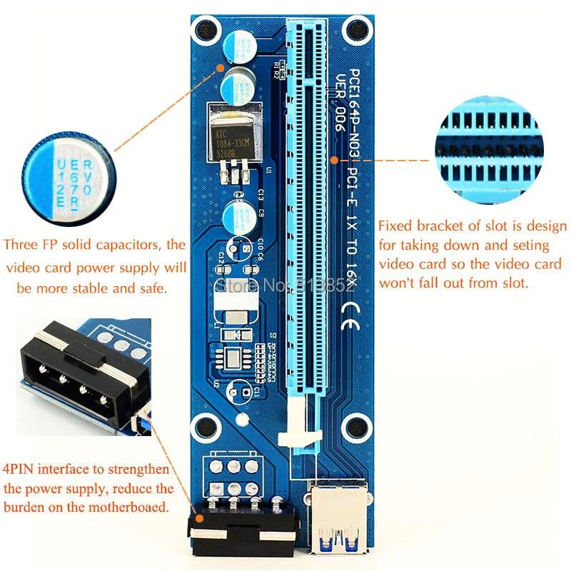 006 PZ PCIe PCI-E PCI Express Riser Card 1x a 16x USB 3.0 Cavo dati SATA a Pin IDE Alimentazione Molex per Minatore BTC Macchina