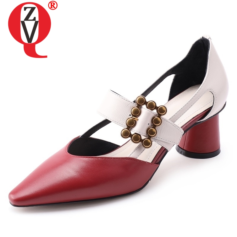 ZVQ shoes woman spring newest fashion mixed colors genuine leather woman pumps outside buckle pointed toe