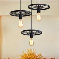 Industrial Vintage Loft Pendant Lamp Kitchen Bar Ceiling Hanging Light Wheel Led Pendant Lamp for Clothing Store Restaurant