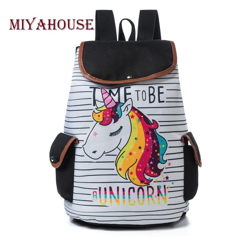 Deisgn Miyahouse Unicórnio Dos Desenhos Animados Impresso Cordão Backpack School For Adolescente Feminino Mochila de Viagem Mochila de Lona Senhora