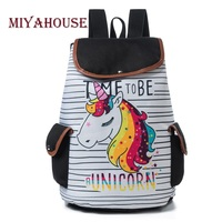 Miyahouse Cartoon Unicorn Printed School Backpack For Teenager Drawstring Deisgn Female Travel Rucksack Canvas Backpack