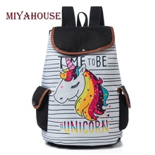 Miyahouse Cartoon Unicorn Printed School Backpack For Teenager Drawstring Deisgn Female Travel Rucksack Canvas Backpack Lady