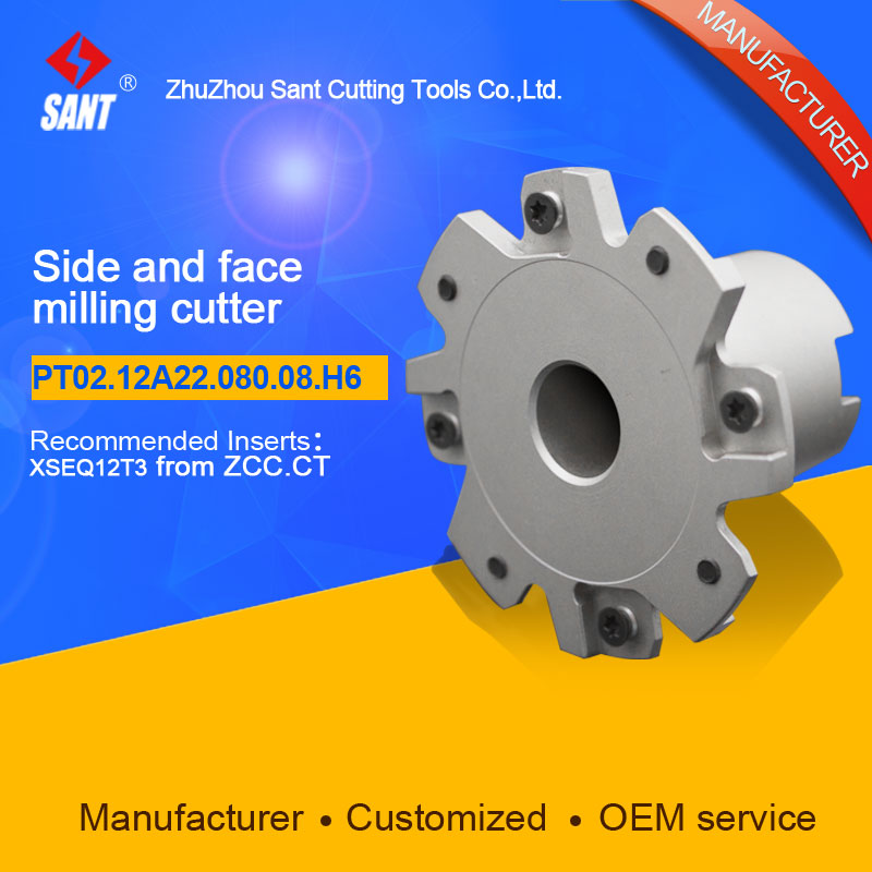 Indexable milling cutter Match insert XSEQ12T3 Side and face milling cutter disc PT02.12A22.080.08.H6/SMP01-080X6-A22-SN12-08
