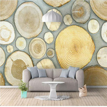 Custom murals 3D three-dimensional Nordic fresh wood grain annual rings background wall thick wallpaper