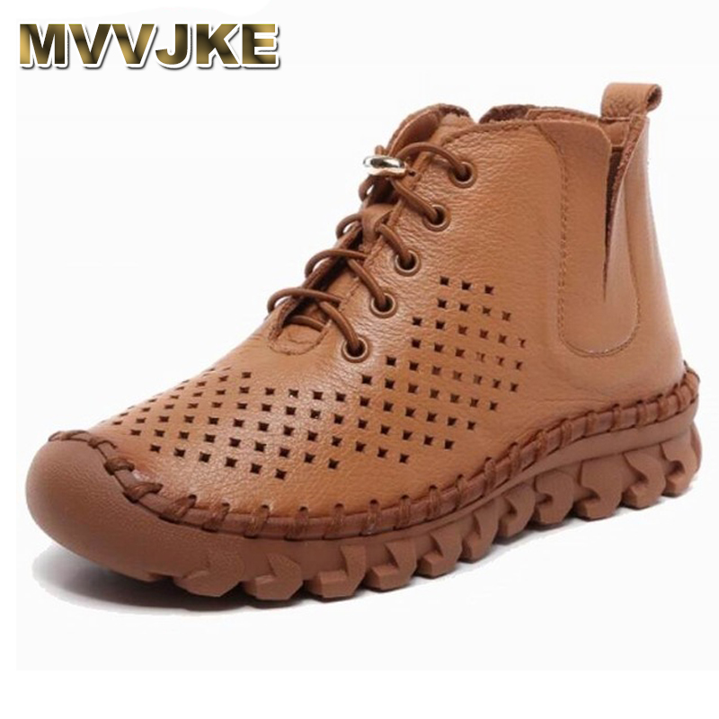 MVVJKE Genuine Leather Hollow Out Breathable Summer Women Sandals Boots Handmade Spring Autumn Fashion Soft Flat Ankle Boots mvvjke 2018 spring summer new bow genuine leather women boots hollow mesh ankle boots comfortable low heels fashion shoes