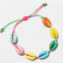 12pcs Europe and America Simple style adjustable braided hand gift fashion jewelry Color alloy Sandy beach Shell bracelets  C-18