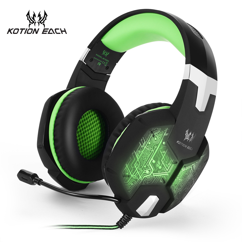 KOTION EACH Gaming Headset Gaming Headphone Earphone 3.5mm Stereo Game Headphone With Microphone Mic LED Light For Computer PC rock y10 stereo headphone microphone stereo bass wired earphone headset for computer game with mic