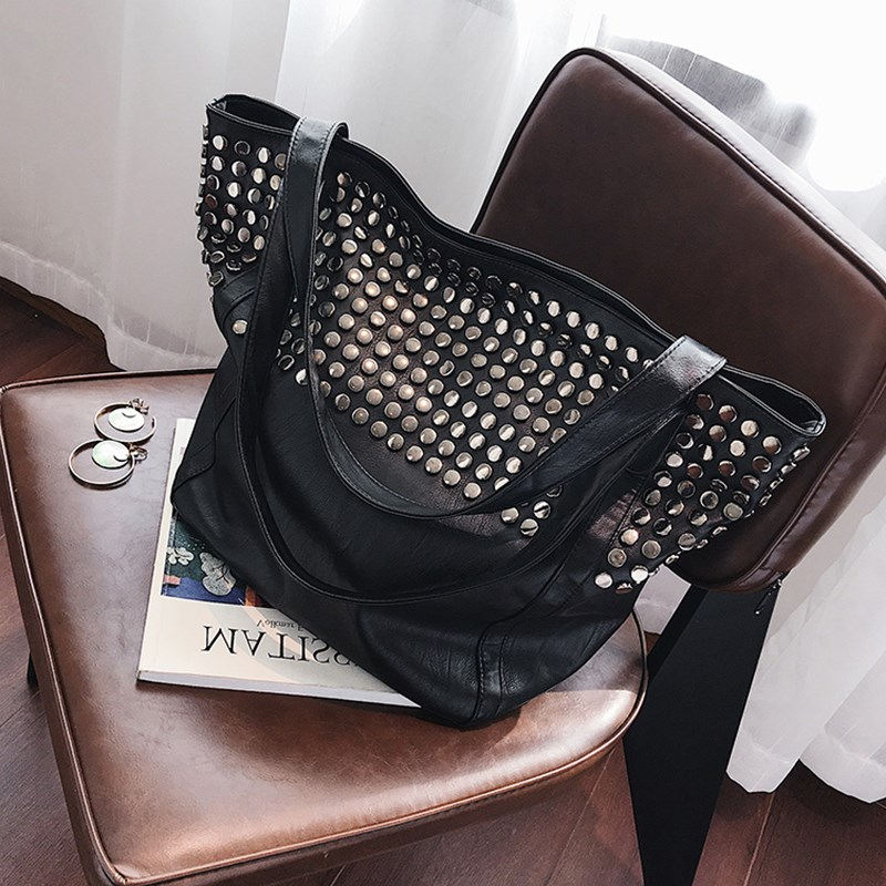 High Quality Rivet Big Totes Bags For Women 2019 Fashion PU Leather Handbag Female Large Capacity Tote Punk Shoulder Bag in Top Handle Bags from Luggage Bags