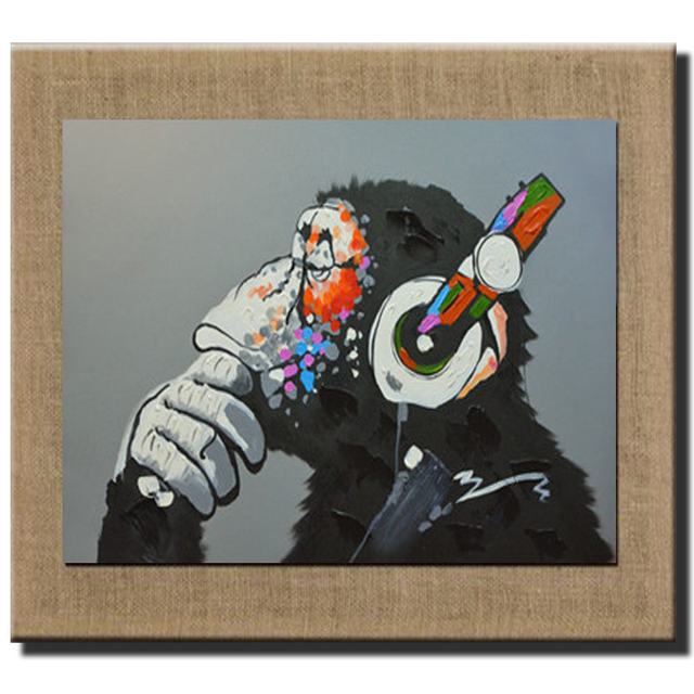 Pintado a mano con Marcos imagen animal gorila abstracto decorativo ...