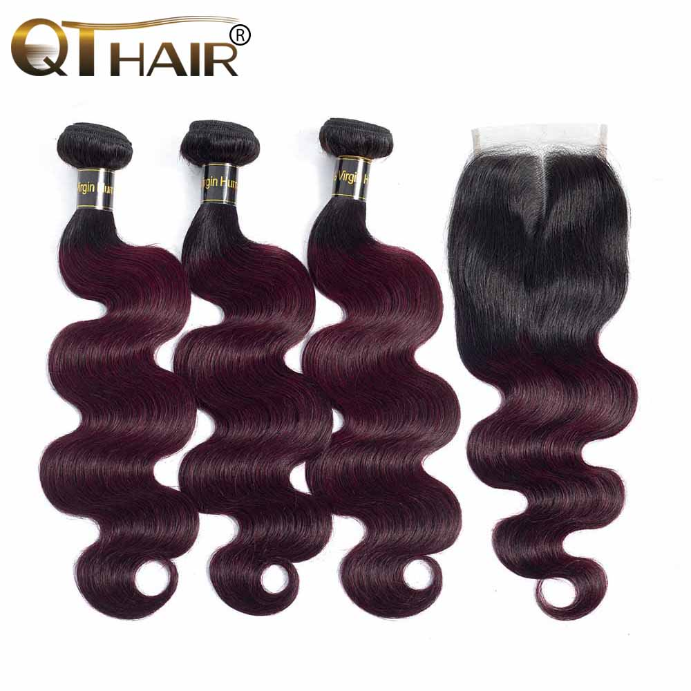 Two Tone Ombre Brazilian Human Hair Body Wave 1B/99J Burgundy Dark Wine Red Ombre Burgundy Hair 3 Bundle With Lace Closure QT
