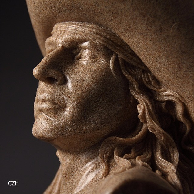 Handmade Cowboy Bust Sandstone Sculpture